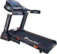 Powermax Fitness TDA-230 2 HP/4 HP Peak Motorized Treadmill with Semi Auto Lubrication and Dual Shock Spring - Black
