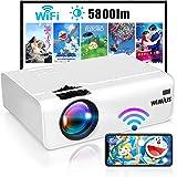 Proiettore WiFi, WiMiUS 5800 Mini Videoproiettore Portatile da Supporto 1080P Full HD HiFi Compatibile con Smartphone / PC /