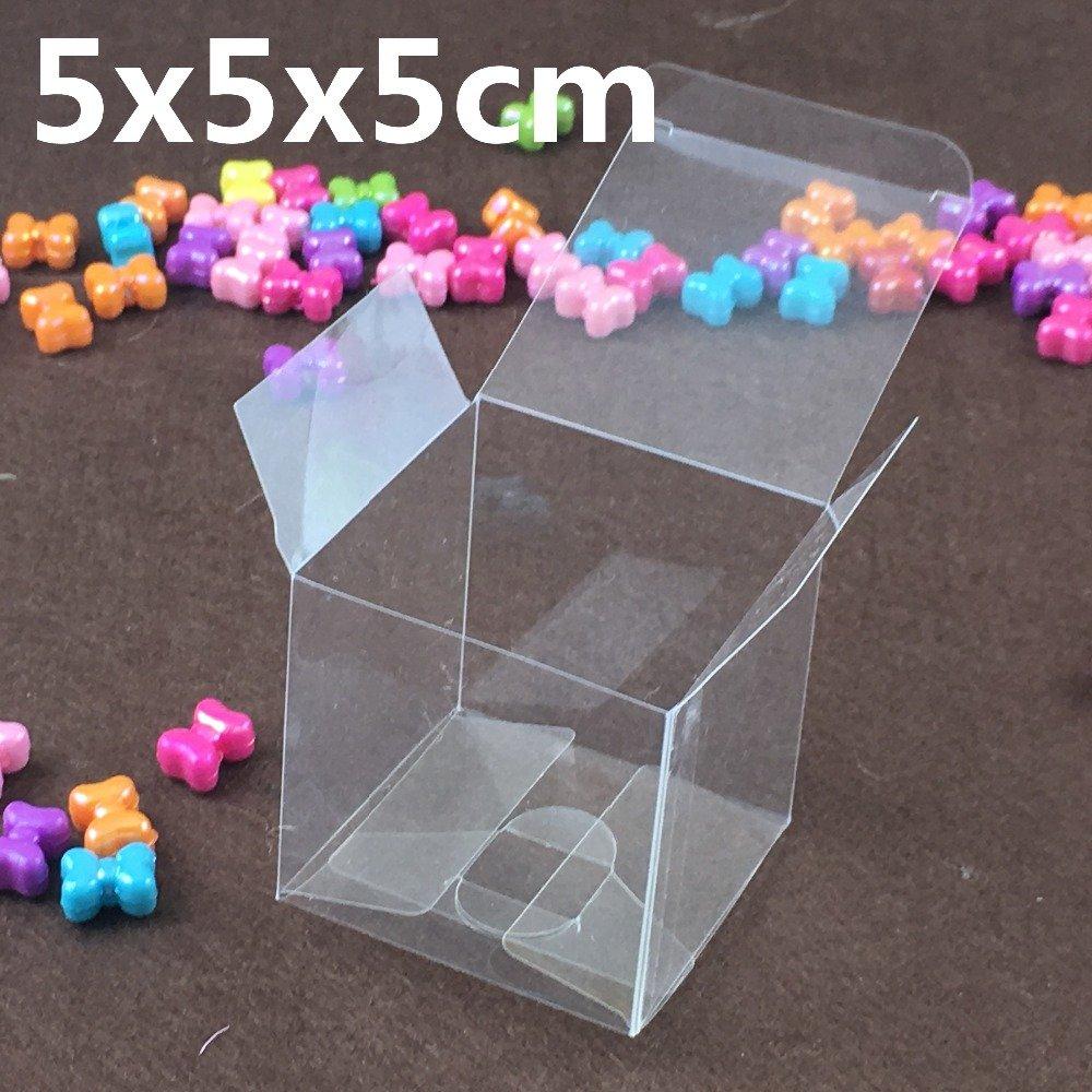 50 PZ Scatola PVC trasparente VARIA MISURA Portaconfetti BOMBONIERA Confezione Regalo (5*5*5cm)