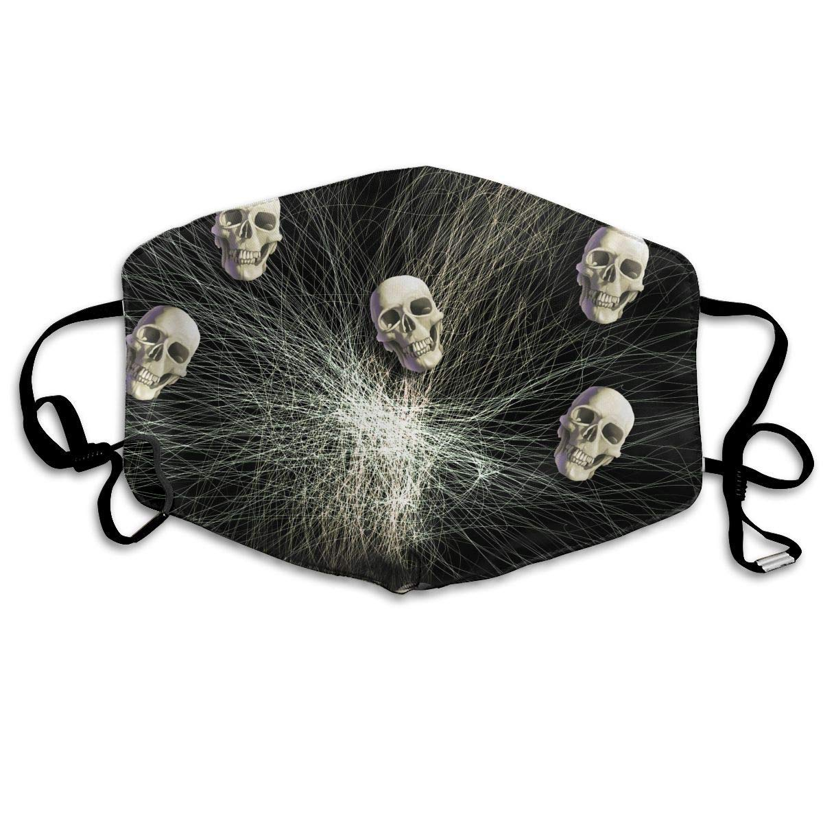 Daawqee Máscara de Boca, Antipolvo Cubierta de Boca Skull Print Reusable Washable Earloop Máscara de Boca for Men Women