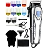 Mens Hair Clippers, Cordless Hair Clippers for Men,Kids,Family, 10 Colour Combs(0.5-25mm) Beard Clipper, Electric…