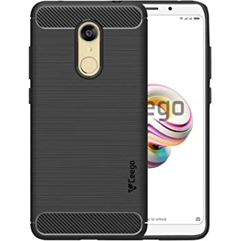 Ceego Xiaomi Redmi Note 5 Cover - Carbon Fiber Shield - TPU Back Case for Redmi Note 5 [with Shock Protection] - Matte Black
