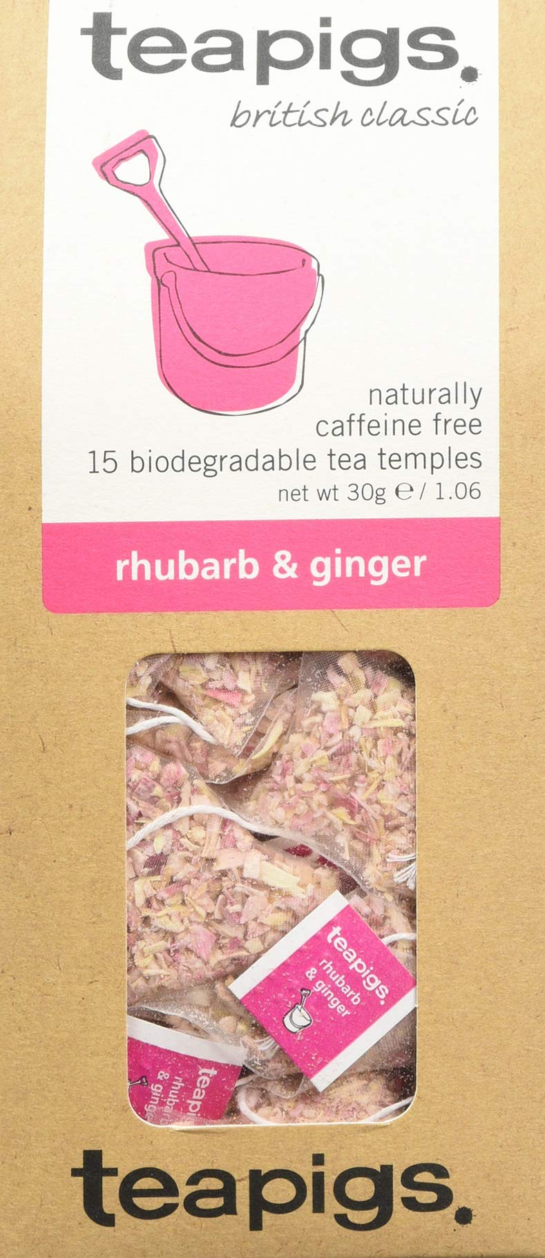 Teapigs rhubarb and ginger tea bundle (infusions) (3 packs of 15 bags) (45 bags) (a spicy, vegetal tea with aromas of ginger, rhubarb) (brews in 3 minutes)