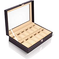 Kurtzy Watch Case Box Faux Leather Finish and Glass Window