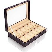 Kurtzy Watch Storage Box Display Case Organizer with Faux Leather Finish and Glass Window (12 Slots)