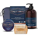 King C. Gillette Astuccio Kit Regalo da Uomo per la Cura della Barba: Detergente Viso e Barba 350 ml + Balsamo…