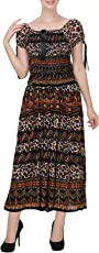 INDIAN FASHION GURU Women's Printed Rayon Maxi Dress (BO-DRS-MX1809, Free Size, Multicolour)