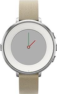 Pebble Time Round Smartwatch in cassa d'argento, cinturino in pelle, 14 mm, Argento/Beige