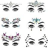 URAQT Face Gems Glitter, 6 stuks Strass Gezichtsjuwelen, Kristallen Gezichtsstickers voor Ogen, Zelfklevende Tijdelijke Body