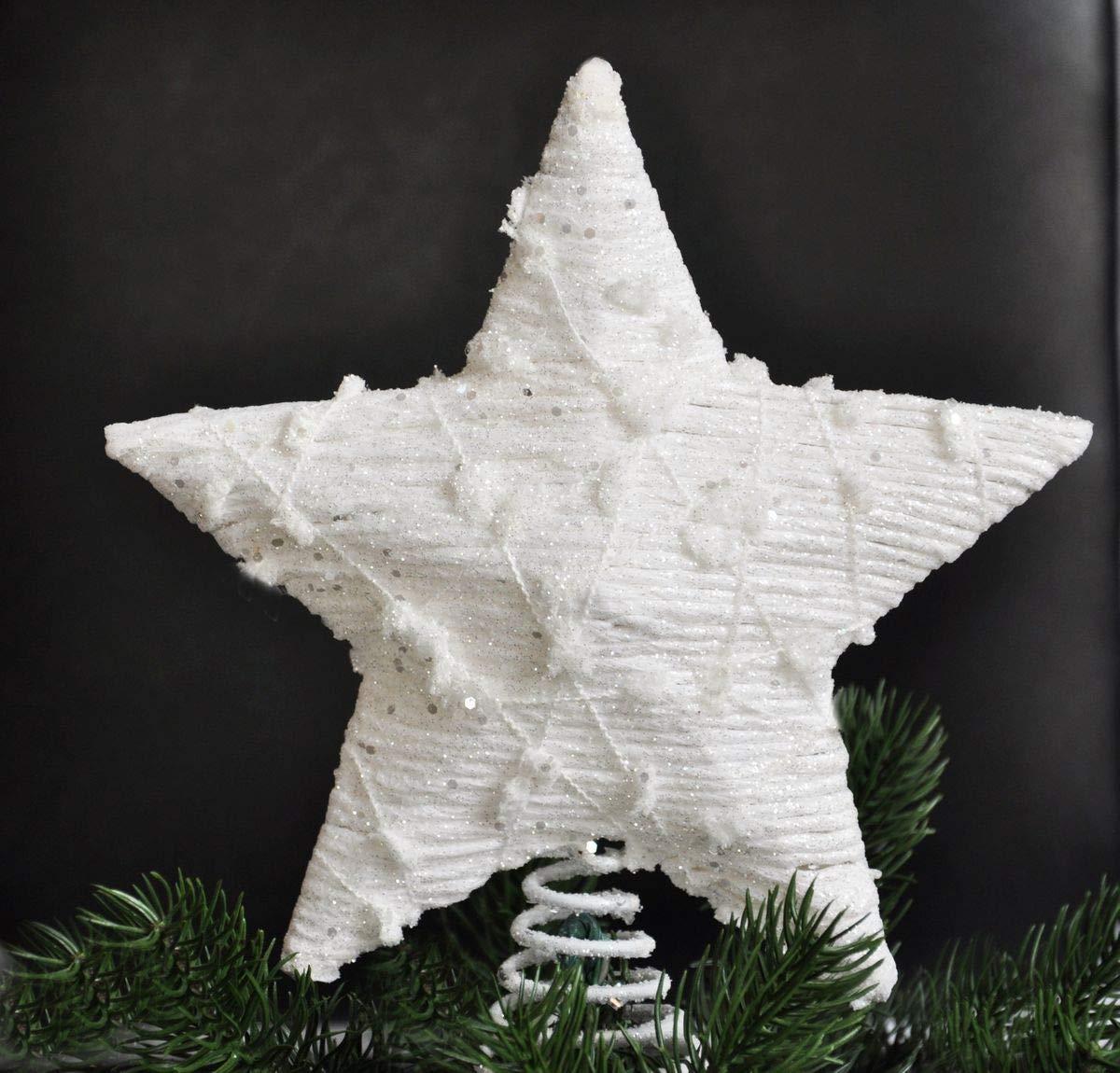 Kaemingk-Christbaumspitze-Stern-Metall-Wei-23-x-21-cm-Glitzer-Rattan-Optik-Weihnachtsbaum-Spitze