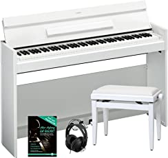 Yamaha Arius YDP-S52 WH Digitalpiano SET inkl. Bank, Kopfhörer und Notenheft (88 Tasten, Anschlagdynamik, Notenablage, Tastaturabdeckung, inkl. Schule) weiß