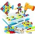 jerryvon Mosaique Enfant Puzzle 3D - Jeux de Construction Enfant Jouet Perceuse Electrique Loisirs Créatifs Jeux Montessori E