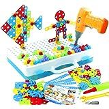 jerryvon Juguetes Montessori Puzzle 3D - Puzzles Mosaicos Juguete de Construcción con Rejilla y Taladro Eléctrico Caja de Her
