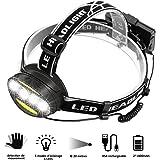 MEKUULA Lampe Frontale LED Rechargeable 6LEDs-T6 Lampe Frontales Detecteur de Mouvement 5 Modes d'éclairage avec Câble USB et 2 Batteries Étanche pour Vélo Camping Randonnée Pêche