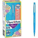 PaperMate Flair Feutres de Coloriage, pointe moyenne (0,7mm), encre bleu ciel, boîte de 12