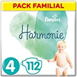 Pampers Couches Harmonie Taille 4 (9-14kg) 0% de compromis, 100% d'absorption, Ingrédients d'origine végétale, Hypoallergéniq