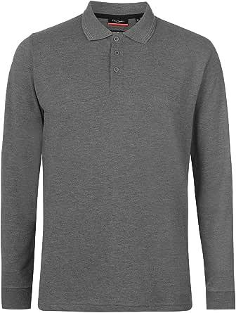 Pierre Cardin Mens Plain Long Sleeve Polo Shirt Cotton