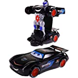 Wishkey Bump & Go 2 in 1 Transformer Robot Racing Car with Colourful 3D Light & Music-360 Degree Rotation Toy for Kids