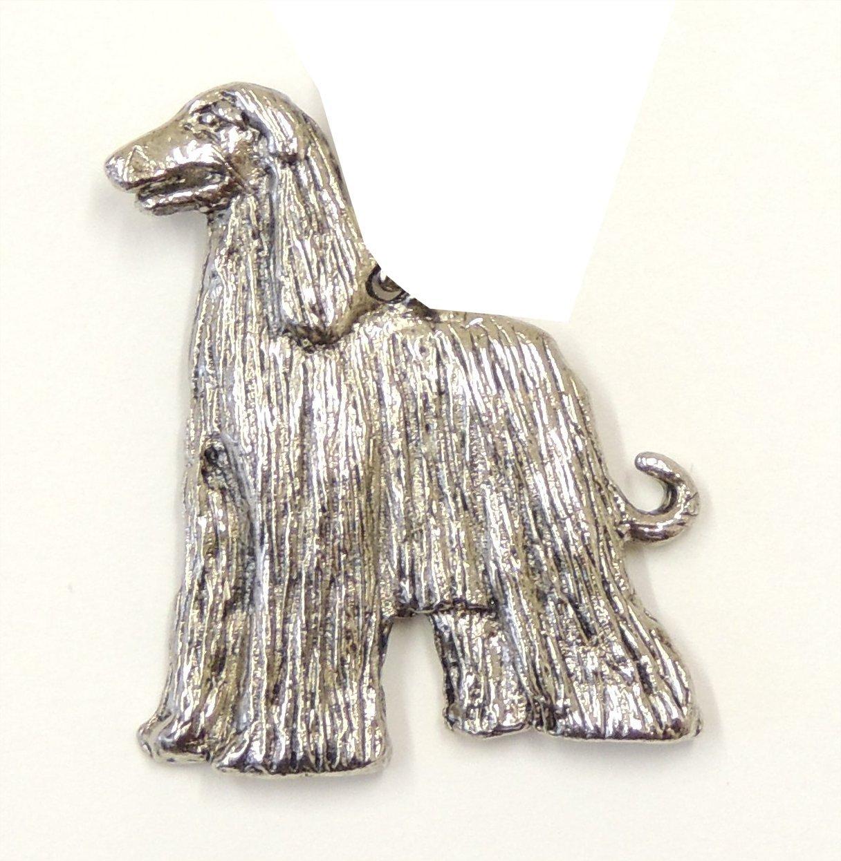 Afghan Hound Brooch Silver Finish