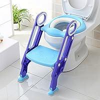 BAMNY Riduttore WC per Bambini con Scaletta Pieghevole, Kit Toilette Trainer Step Up con Cuscino Tenero Modello…