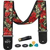 Sangle de Guitare Fleur Rose en Coton Vintage Tisse pour Basse Guitare Acoustique Électrique Accessoires, Médiators (rouge)