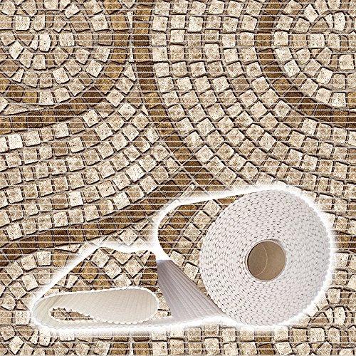 Weichschaummatte Badvorleger Bodenbelag Badläufer Antirutsch 130x100cm Mosaik Steine Beige Braun