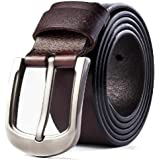 Men's Leather Belt 100% Full Grain Genuine Thick Leather with Anti-Scratch Pin Buckle Great for Jeans, Casual, Formal, Work W