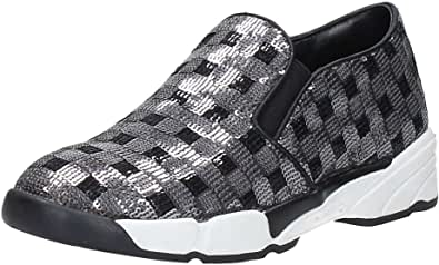 Pinko Scarpe Donna Sneakers Slip On 1H208D Sequins1 ZZF Silver Shine Baby Shine
