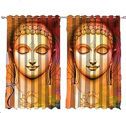 Vrinda Dome Décor God Buddha 3D Printed Curtain Door (4 Feet X 7 Feet) 2 Piece…