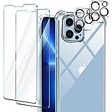 AROYI Funda Compatible mit iPhone 13 Pro MAX, 2 Pack Cristal Templado y 2 Pack Lente de cámara - Clear
