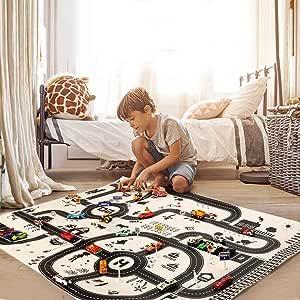Fantiff Kids Playmat Ville Route B/âtiment Parking Jeu De Cartes Jouets /Éducatifs Tapis /& Patins 130 x 100 cm