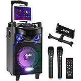 Bluetooth Sonorisation Portable Moukey Karaoké Speaker Haut-parleurs 160W Enceinte Sono PA système avec lumières DJ double VH