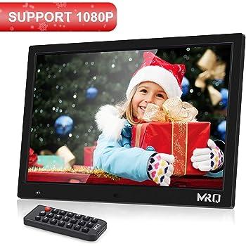 """MRQ 14.1"""" Digitaler Bilderrahmen, 1280x800 HD Bildschirm, unterstützt 1080P, Bewegungssensor Funktion, unterstützt USB SD und Multi-Format, Video Musik Foto E-Book Wiedergabe, Uhr Kalender Alarm"""