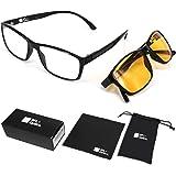 SFL + Optics. Lot de 2 lunette anti lumiere bleue Protection 85% et 92% Lunettes Jeux Vidéo Lunettes Gaming PC Mobile TV Haut