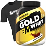 Bigmuscles Nutrition Premium Gold Whey 2kg [Belgian Chocolate] with Free T-Shirt|Whey Protein Isolate & Whey Protein…