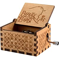 Vowmix Wooden Hand Crank Beauty and The Beast Theme Music Box 18 Note Mechanism Antique Carved Musical Box Best Gift for…