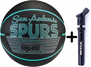 Spalding Basketball Team Spurs Combo (Spalding Team Spurs Basketball, Size 7 + Niva Double Action Ball Pump)