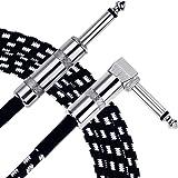 Anpro Câble de Guitare Electrique 3m,Câble Jack de Basse Instrument 6.3mm Mâle à Mâle Tête Droite et Tête Coudée Pour Connect