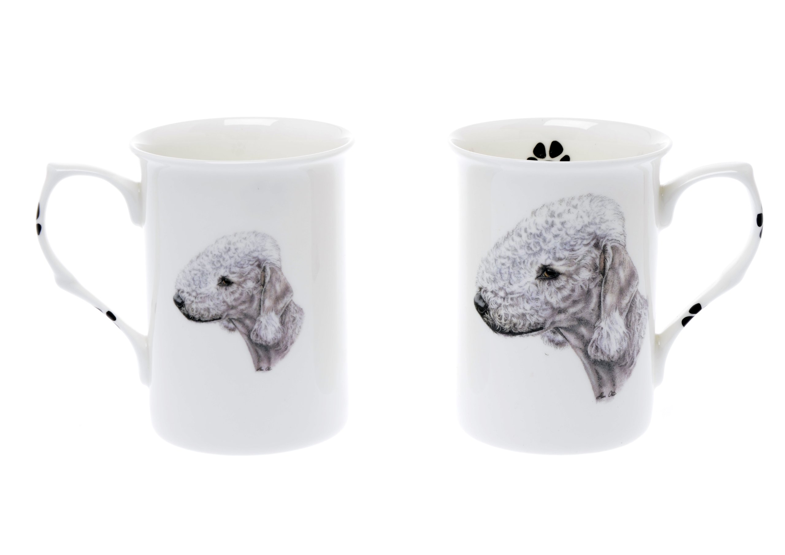 (BB6) SET OF 2 BONE CHINA BEAKERS/ MUGS Bedlington Terrier dog PRESENTATION GIFT BOXED- lovely gift KIRSTY JAYNE CHINA