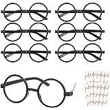 KATOOM 16PCS Gafas de Harry Potter, Gafas Redondas de Infantil, con 6 Hojas Tatuaje para Niños, Gafas Wizard sin Lentes Estil
