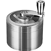 """LIHAO 2""""(5cm) Grinder Moulin à Herbes Épices en Zinc Alliage en 4 Pièces avec Manivelle - Argent Antique"""