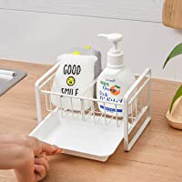 Qisiewell Organisateur d'évier avec bac d'égouttement et cloison de séparation pour la cuisine - Support pour ustensiles…