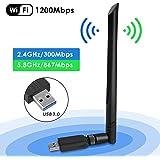 penobon WiFi USB Adaptador, Antena WiFi USB Inalámbrico Dual Band 2.4G / 5.8G 802.11 AC WiFi Dongle con Antena de 5dBi Recept