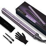 KIPOZI Plancha de Pelo Profesional, Plancha de Pelo Iónico V5 con Placa de Titanio, Plancha y Rizador 2 en 1 con Dual Voltaje