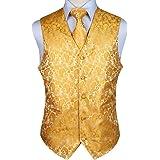 Hisdern Men's Waistcoat Paisley Floral Jacquard Necktie Pocket Square Handkerchief Vest Suit Set