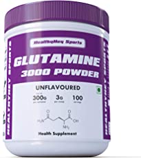 HealthyHey Sports 100 Servings Glutamine Powder for Muscle Growth and Recovery (Unflavoured, 300g)
