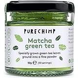 PureChimp Matcha-theepoeder, 50 g, ceremoniële kwaliteit uit Japan, vrij van pesticiden, recyclebare glazen pot en aluminium
