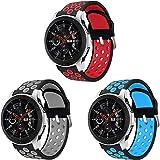 Syxinn Compatible para 22mm Correa de Reloj Galaxy Watch 46mm/Gear S3 Frontier/Classic/Galaxy Watch 3 45mm Banda de Silicona
