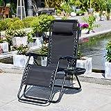 Chaise Longue Relax Inclinable Pliante avec l'Appui têtes et Porte-gobelet Confortable et Respirante Fauteuil réglable pour J
