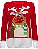 Unisex Damen Herren Damen Gestrickte Weihnachtspullover Rudolph-Ren-Weihnachtsbaum Leuchten LED-Strickwaren-Neuheit Pullover-Rund Halsausschnitt Langarm Loose Fit Größe 36 38 40 42 44 46